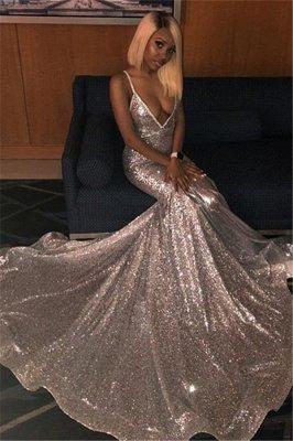Alluring Spaghetti straps Glittering Sequins Sleeveless Prom Dresses | Sexy Mermaid Open Back Evening Dresses