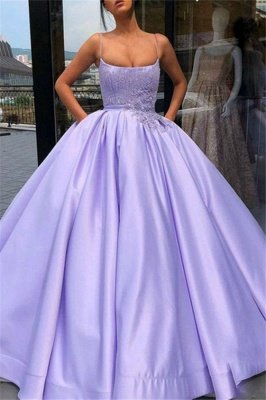 Gorgeous Spaghetti Strap Applique Beads Prom Dresses | Ruffles Puffy Ball Gown Sleeveless Evening Dresses with Pocket