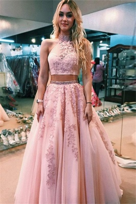 Gorgeous Applique Halter Two Piece Prom Dresses | Open Back Sleeveless Evening Dresses with Beads