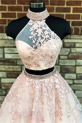 Gorgeous Halter Two Piece Applique Prom Dresses | Elegant Lace Up Crystal Evening Dresses with Beads_4
