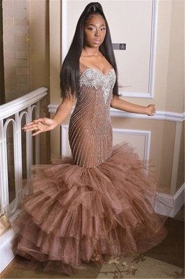 Elegant Straps Sleeveless Applique Tulle Mermaid Prom Dress