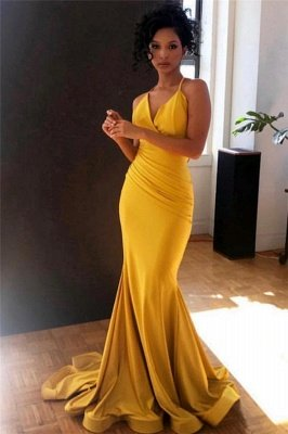 Yellow Spaghetti-Straps V-Neck Ruffle Mermaid Evening Gown