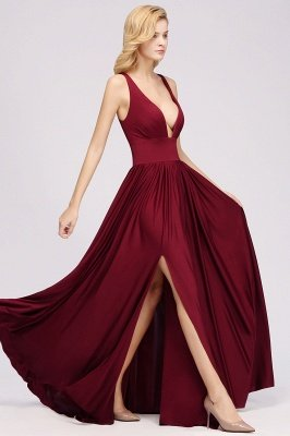 A-Line Jersey V-Neck Sleeveless Long Bridesmaid with Ruffles_3