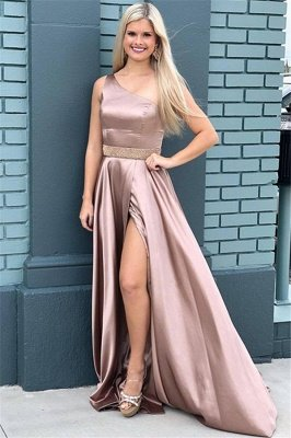 Gorgeous One-Shoulder Beads Prom Dresses | Side Slit Sleeveless Evening Dresses with Belt