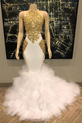 Sleeveless Golden Appliques Tulle Button Mermaid Prom Dresses_3