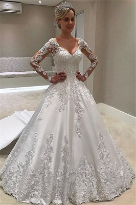 Elegant Long-Sleeves Ball-Gown Appliques Bridal Gown