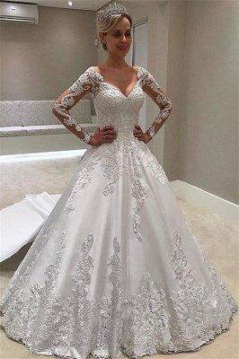 Robe de mariée élégante et élégante à manches longues_1