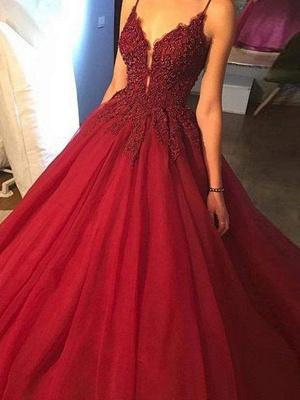 Superbe robe de bal spaghetti avec perles et sangles | Robes de soirée en dentelle rouge_4