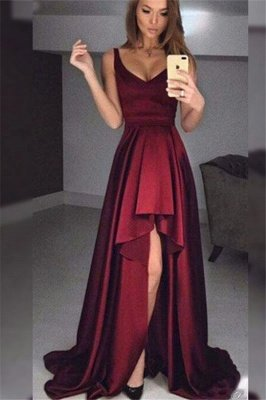 Maroon V-Neck Ruffles Prom Dresses | High low Sleeveless Cheap Evening Dresses