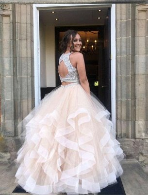 Sexy Pailletten Juwel Sheer Prom Kleider | Zwei Stück ärmellose Abendkleider_2