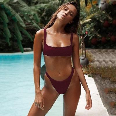 Simple Square Spaghetti Straps Two-piece Bikini Sets_9