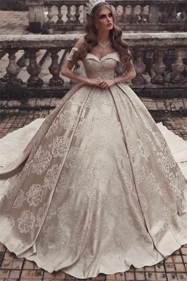 Elegant Off-The-Shoulder Strapless Ball-Gown Long Wedding Dress