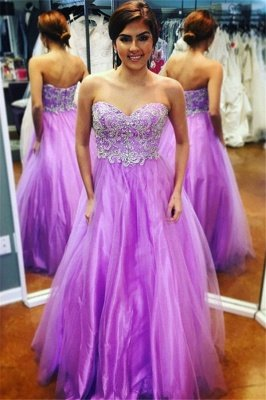Gorgeous Sweetheart Applique Prom Dresses | Purple Open Back Evening Dresses with Beads