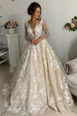 Glamorous Lace Appliques V-Neck Wedding Dresses | Sheer Long Sleeves Backless Floral Bridal Gowns