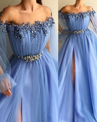 Glamorous Off-The-Shoulder Appliques Tulle A-Line Prom Dress