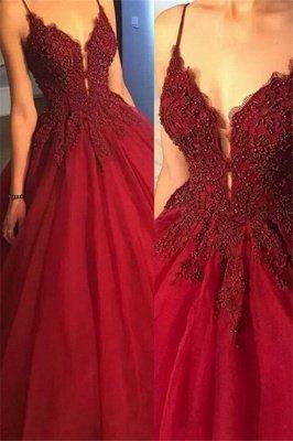 Superbe robe de bal spaghetti avec perles et sangles | Robes de soirée en dentelle rouge_1