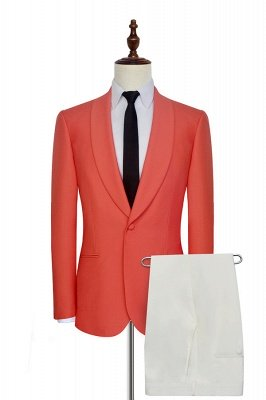 New Arrival Single Breasted One Button 2 Pocket Tailored Suit | Watermelon Red Shawl Collar Custom Suit Groom Wedding Tuxedos_2