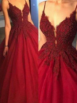 Superbe robe de bal spaghetti avec perles et sangles | Robes de soirée en dentelle rouge_2