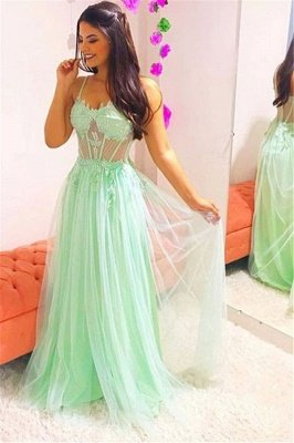 Elegant Spaghetti-Straps Sheer Tulle Sleeveless Prom Dress