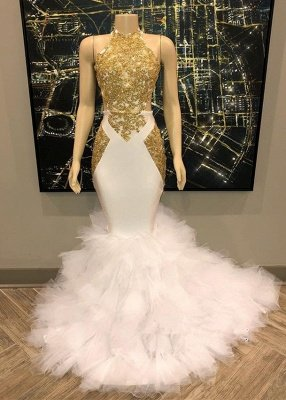 Sleeveless Golden Appliques Tulle Button Mermaid Prom Dresses_1