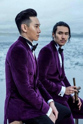 Purple Velvet Peak Lapel Custom Wedding Suit For Groom | Modern Single Breasted One Button Formal Men Suits