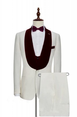 White Red Velvet Shawl Collar One Button Wedding Suit For Groom | Latest Design Single Breasted Slim Fit Suit