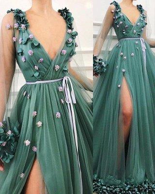 Precioso vestido de fiesta de una línea de tul de manga larga con abertura lateral en tul_3