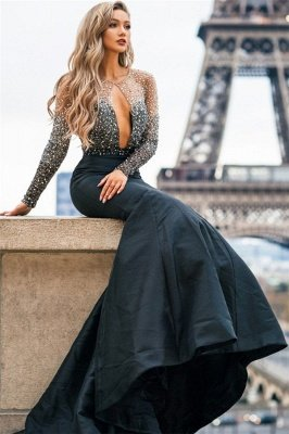Gorgeous Black Sheer-Tulle Appliques Long-Sleeves Mermaid Prom Dress