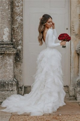 Elegant Applique Wedding Dresses | Side slit Mermaid Sleeveless Floral Bridal Gowns_1