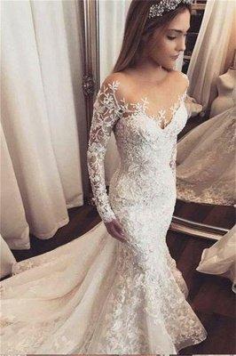 Maravilloso apliques fuera del hombro vestidos de novia   Largas mangas largas florales con cuentas_1