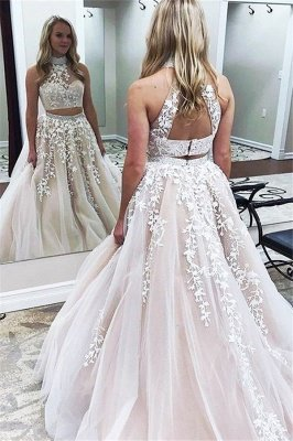 Gorgeous Halter Two Piece Applique Prom Dresses | Elegant Lace Up Crystal Evening Dresses with Beads_2