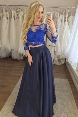 Gorgeous Two Piece Applique Prom Dresses | Longsleeves Sexy Evening Dresses with Sparkly Beads