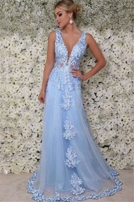 Gorgeous V-Neck  Sleeveless Applique Prom Dresses | Tulle Cheap Evening Dresses with Beads