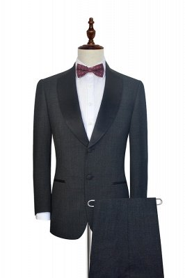 Dark Grey Black Shawl Lapel Two Bottons Wedding Suit For Groom | Hot Recommend Single Breasted Tailored 2 Piece Suits