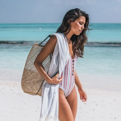 Stripes Backless Sexy One Piece Swimsuit Summer Beach Swimwear_7