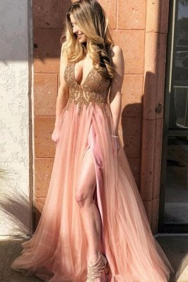 Stunning Sparkly Beads Applique Prom Dresses | Side slit Sleeveless Sexy Evening Dresses