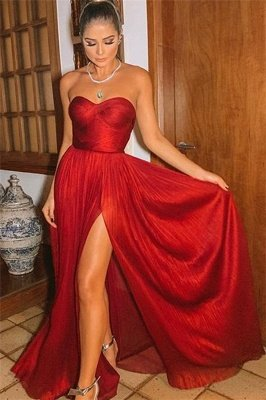 Sexy Burgundy Strapless Side-Slit A-Line Long Prom Dresses