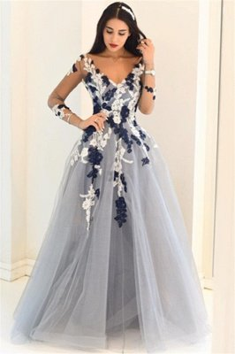 Gorgeous Off-the-Shoulder Applique Prom Dresses |Elegant Long Sleeves Evening Dresses