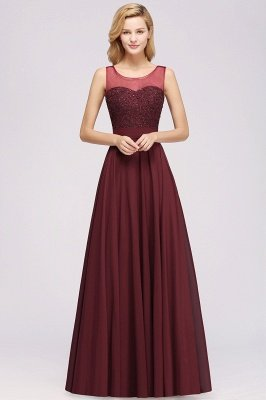 Cheap Chiffon Tulle Lace Beadings Jewel Sleeveless Long Bridesmaid Dress with Sash
