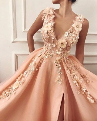 Gorgeous Straps V-Neck Flower Appliques A-Line Prom Dress_2