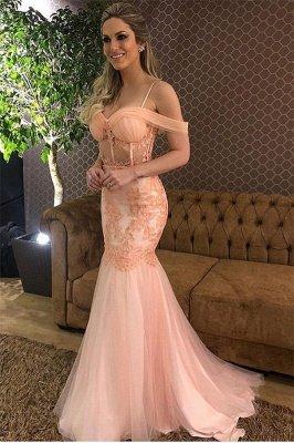 Elegant Pink Off-The-Shoulder Applique Tulle Mermaid Prom Dress_1