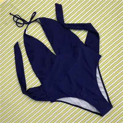 One Piece V-neck Halter Ribbon Bow Swimwear Suits_3