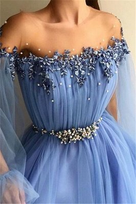 Glamorous Off-The-Shoulder Appliques Tulle A-Line Prom Dress_2
