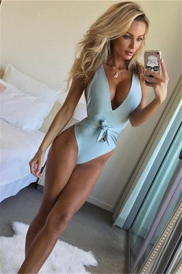 One Piece V-neck Halter Ribbon Bow Swimwear Suits_2