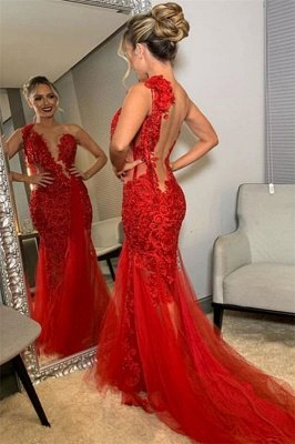 Burgundy One-Shoulder Lace Applique Backless Mermaid Tullle Prom Dresses_2