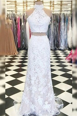 Gorgeous Halter Applique Prom Dresses | Side Slit Sleeveless Evening Dresses with Beads