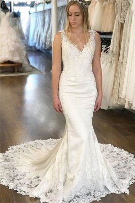 Elegant V-Neck Appliques Wedding Dresses | Sleeveless Backless Mermaid Floral Bridal Gowns