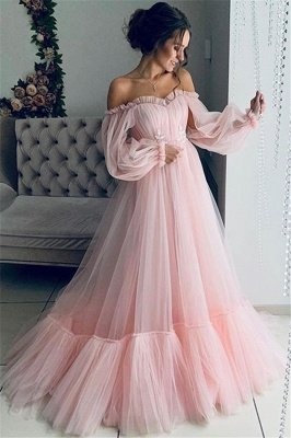 Gorgeous Off-The-Shoulder Long-Sleeves Sheer-Tulle A-Line Prom Dress_2