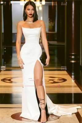 Sexy Strapless Side Slit Evening Dresses Online | Black White Sleeveless Formal Party Dress_3