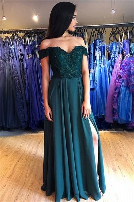 Gorgeous Off-the-Shoulder Applique Prom Dresses | Side Slit Sleeveless Evening Dresses with Beads